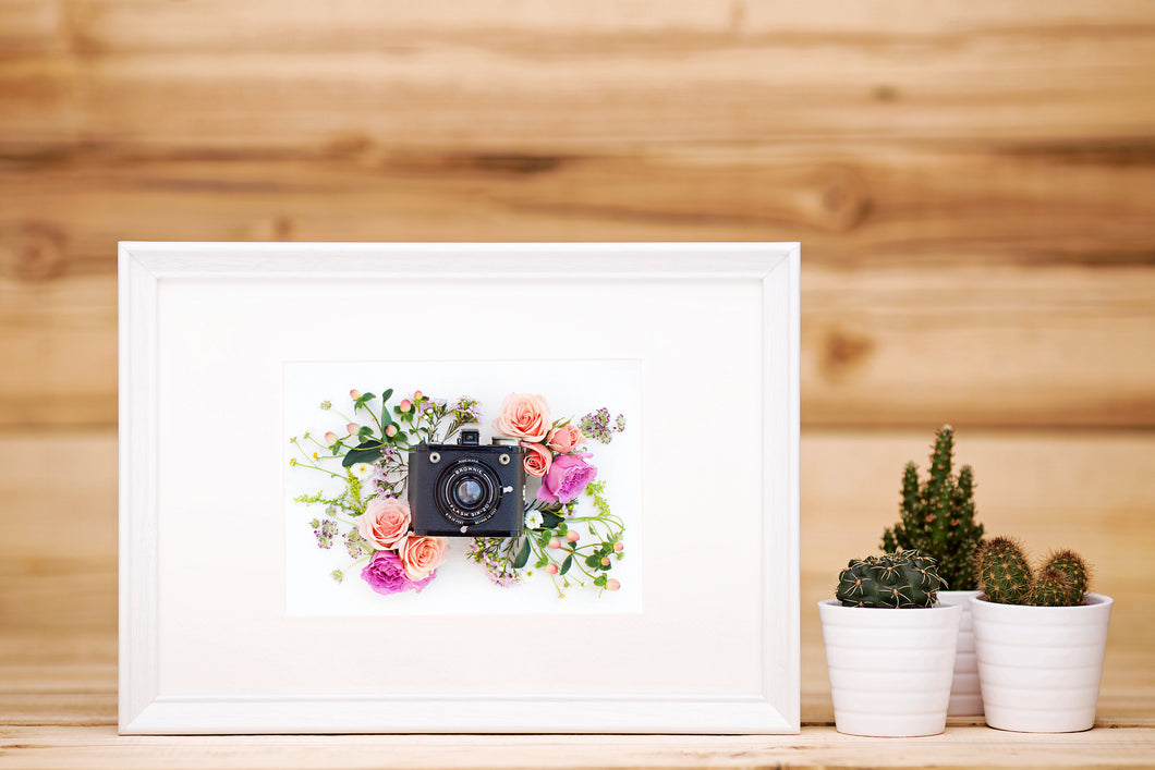 Vintage Camera Flowers Art Print Click Bloom