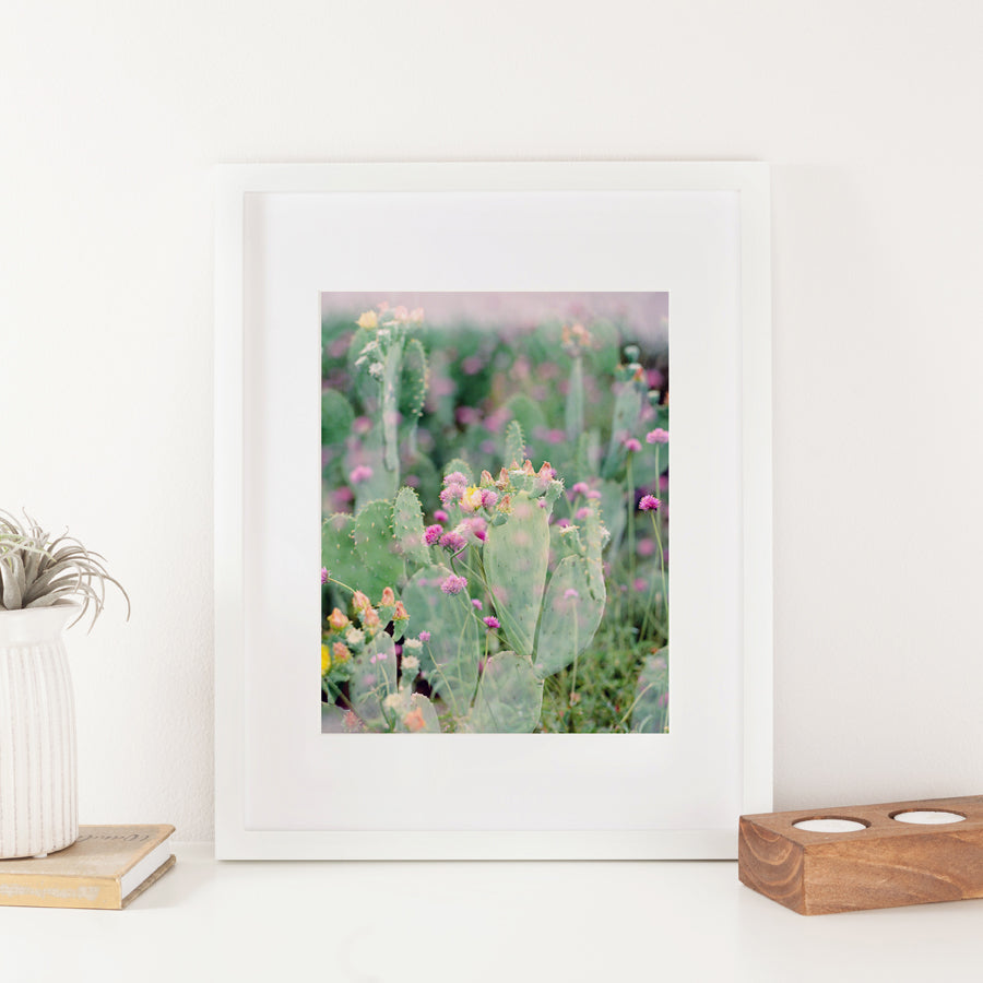 Undeserted Double Exposure Cactus and Flowers 8x10 Art Print