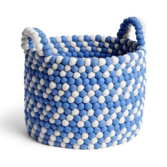 Bead Basket with Handle Blue Dash
