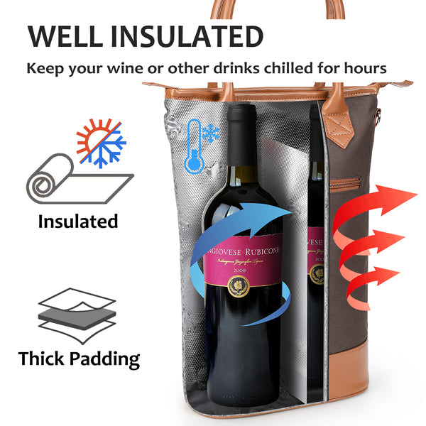 Insulated Wine Tote Bag - Travel Padded 2 Bottle Wine Cooler Bag