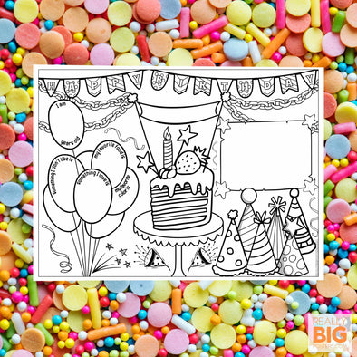 All About the Birthday Child Coloring Poster **Instant Digital Download**