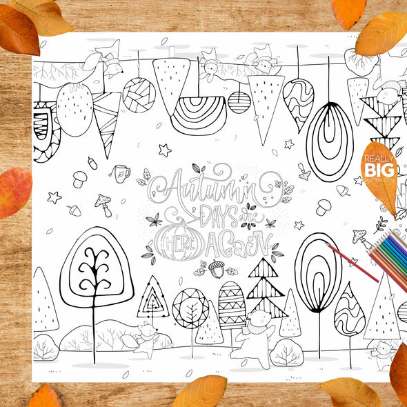 Autumn Scene Tabletop Coloring Poster