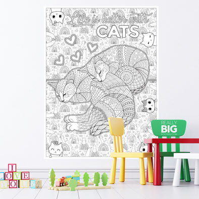 Life is Better With Cats Coloring Poster