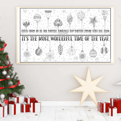 Christmas Ornaments Tabletop Coloring Poster