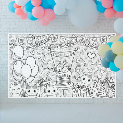 Personalized Birthday Cats Coloring Poster