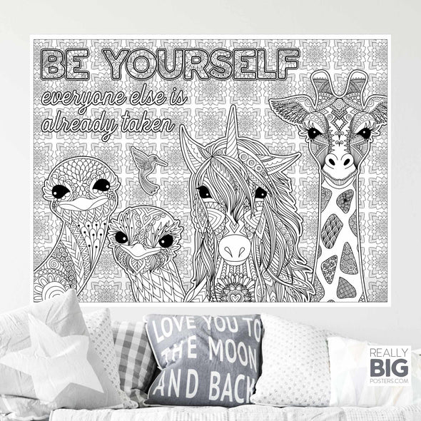 Be Yourself Inspirational Coloring Poster