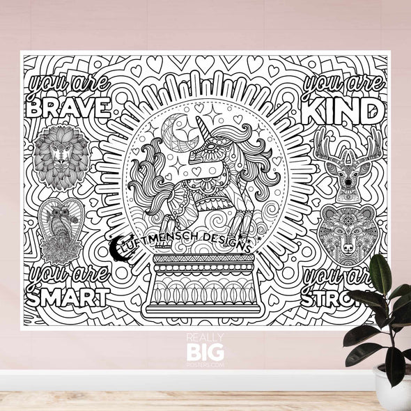 Unicorn Brave Smart Kind Strong Coloring Poster (Wall)