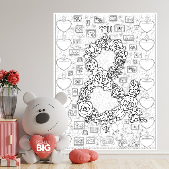 Countdown to Valentine's Day Coloring Poster