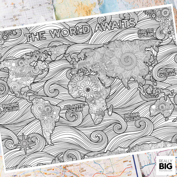 Giant world map coloring poster