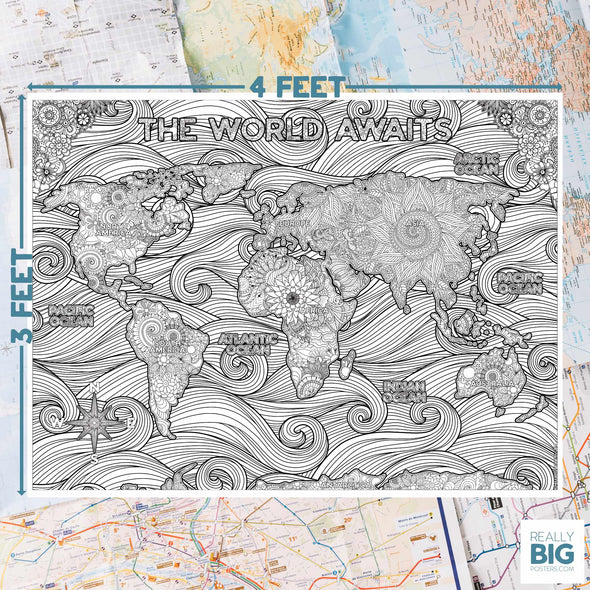 World Map Poster for coloring activity