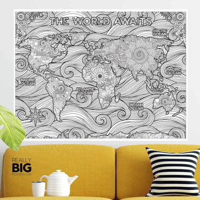World Map Coloring Poster