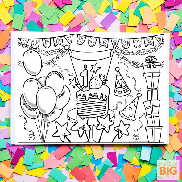 1st Birthday Coloring Poster **Instant Digital Download**