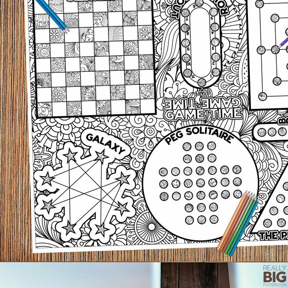 Good Old Fashioned Game Time Coloring Poster
