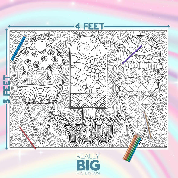 Sweet Ice Cream Coloring Poster