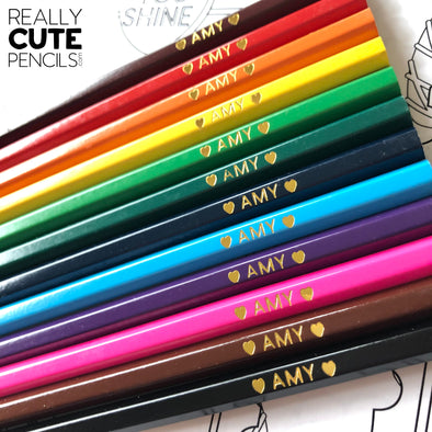 Set of 12 Personalized Colored Pencils, Standard