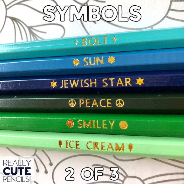 Set of Six Personalized #2 Pencils, Bold Rainbow