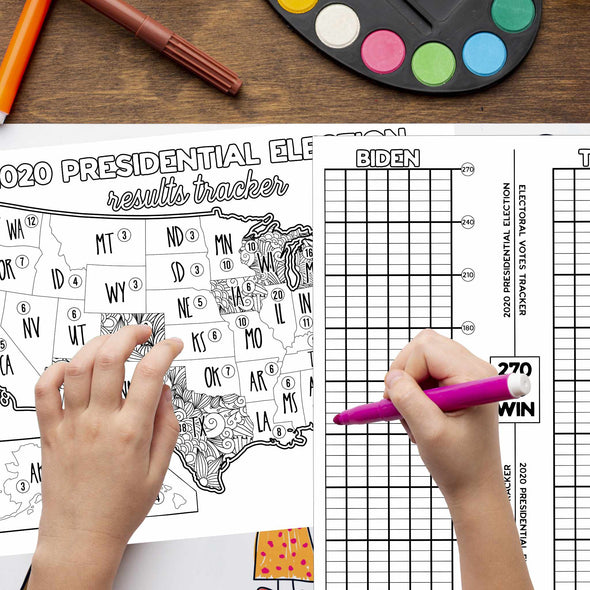 2020 Election Results Tracker US Map Coloring Page **Instant Digital Download**