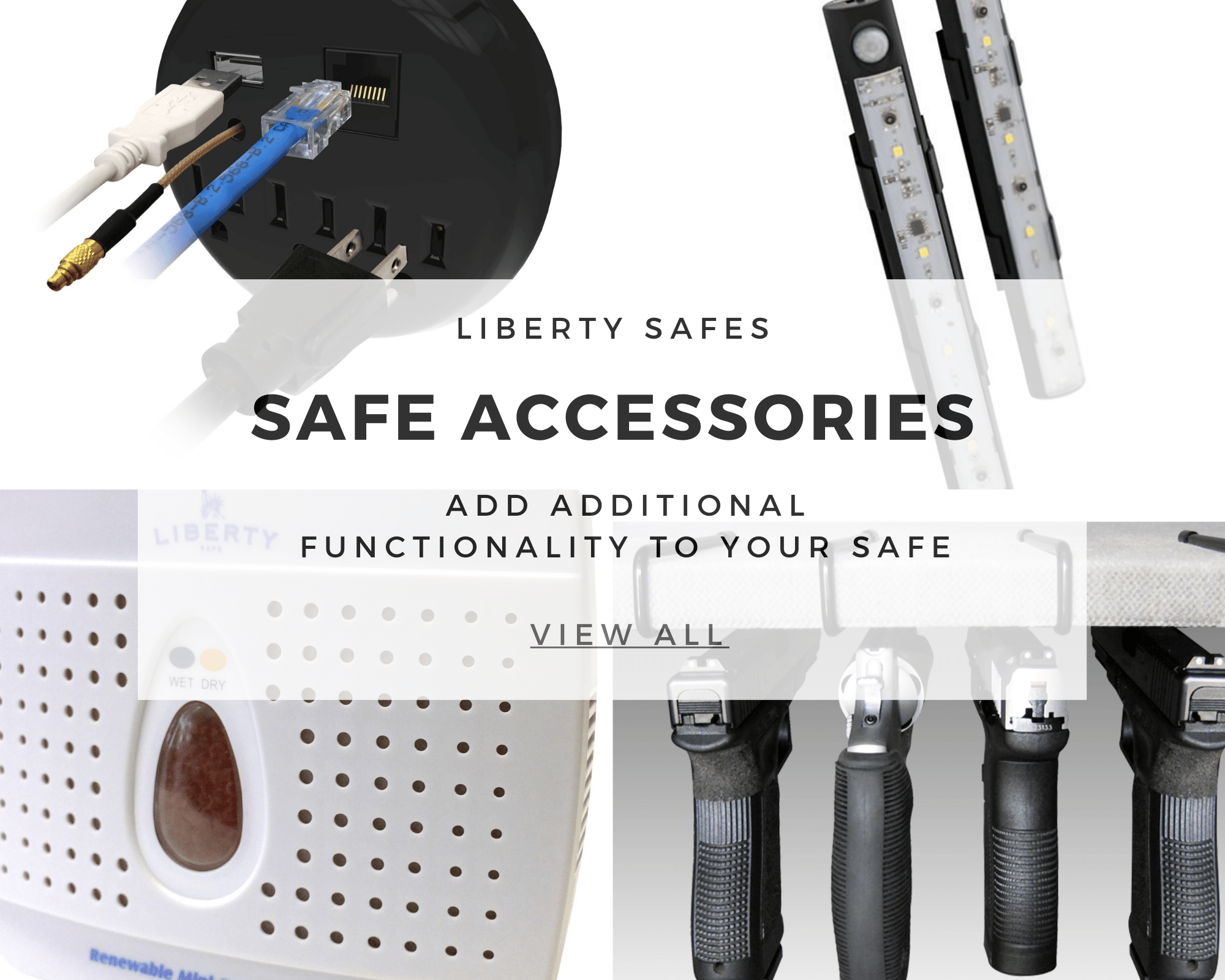 safe accessory text with pictures of dehumidifier, lights, outlet for safes