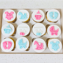Load image into Gallery viewer, Fondant Baby Shower Cupcakes (Various Options)