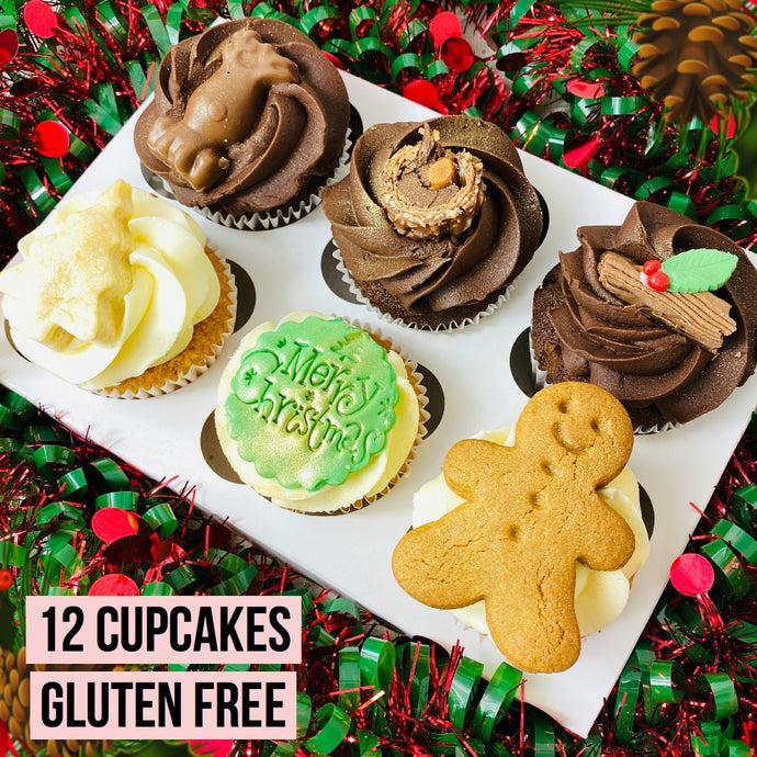 Box Of 12 Christmas Cupcakes Gluten Free (Collection)