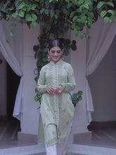 Load and play video in Gallery viewer, Pista Green chikankari cotton silk kurta
