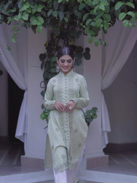 Pista Green chikankari cotton silk kurta
