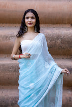 Load image into Gallery viewer, Blue Kota Cotton Chikankari Saree