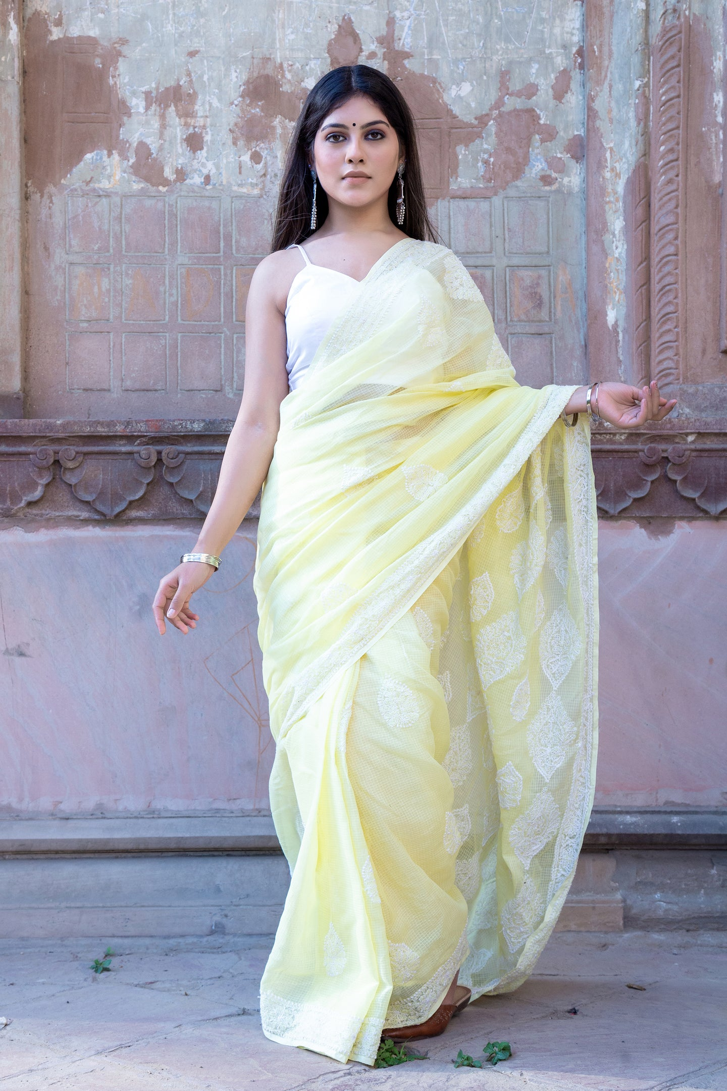 Yellow Kota Cotton Chikankari Saree