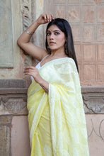 Load image into Gallery viewer, Yellow Kota Cotton Chikankari Saree