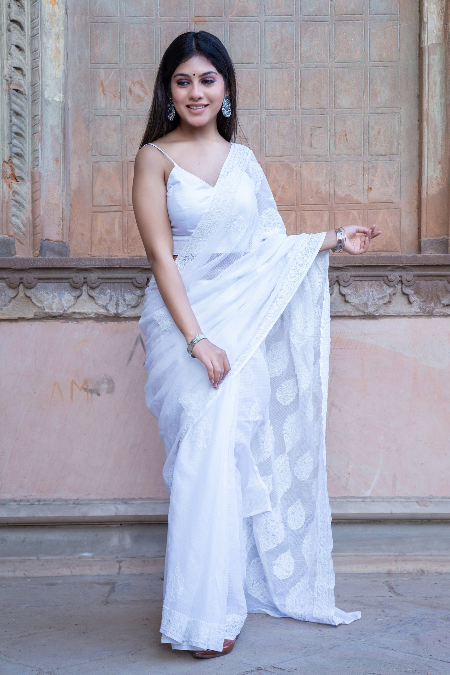 White Kota Cotton Chikankari Saree