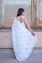 Load image into Gallery viewer, White Kota Cotton Chikankari Saree