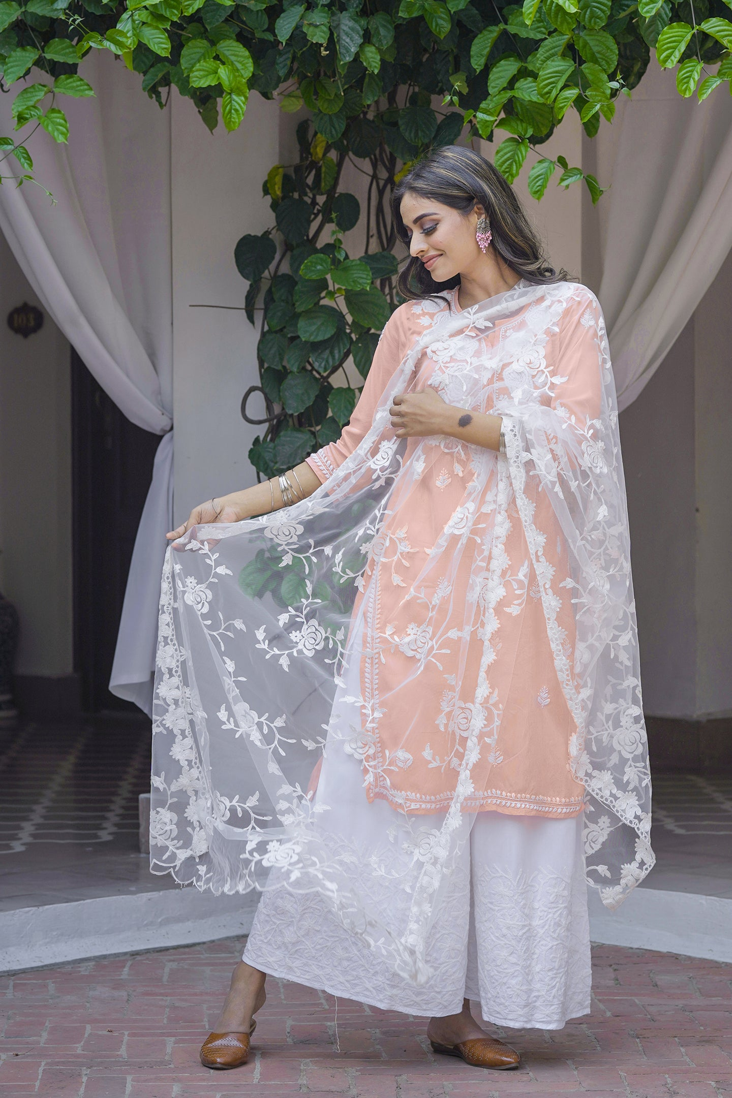 Chasing Summer Peach 3 Piece Kurta Set