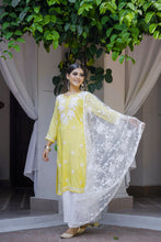 Load image into Gallery viewer, Chasing Summer Yellow 3 Piece Kurta Set