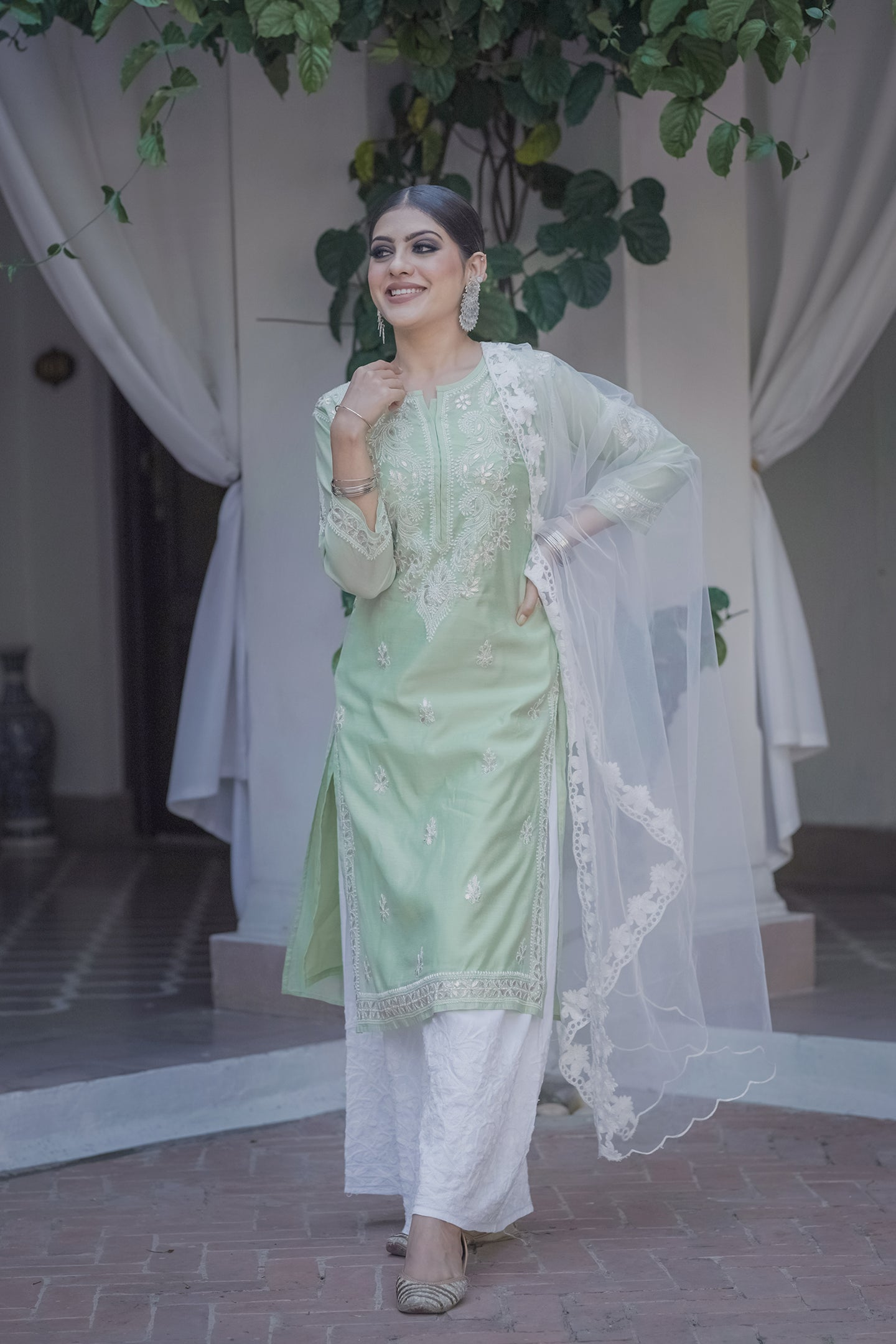 Green Evening Skies 3 Piece Kurta Set