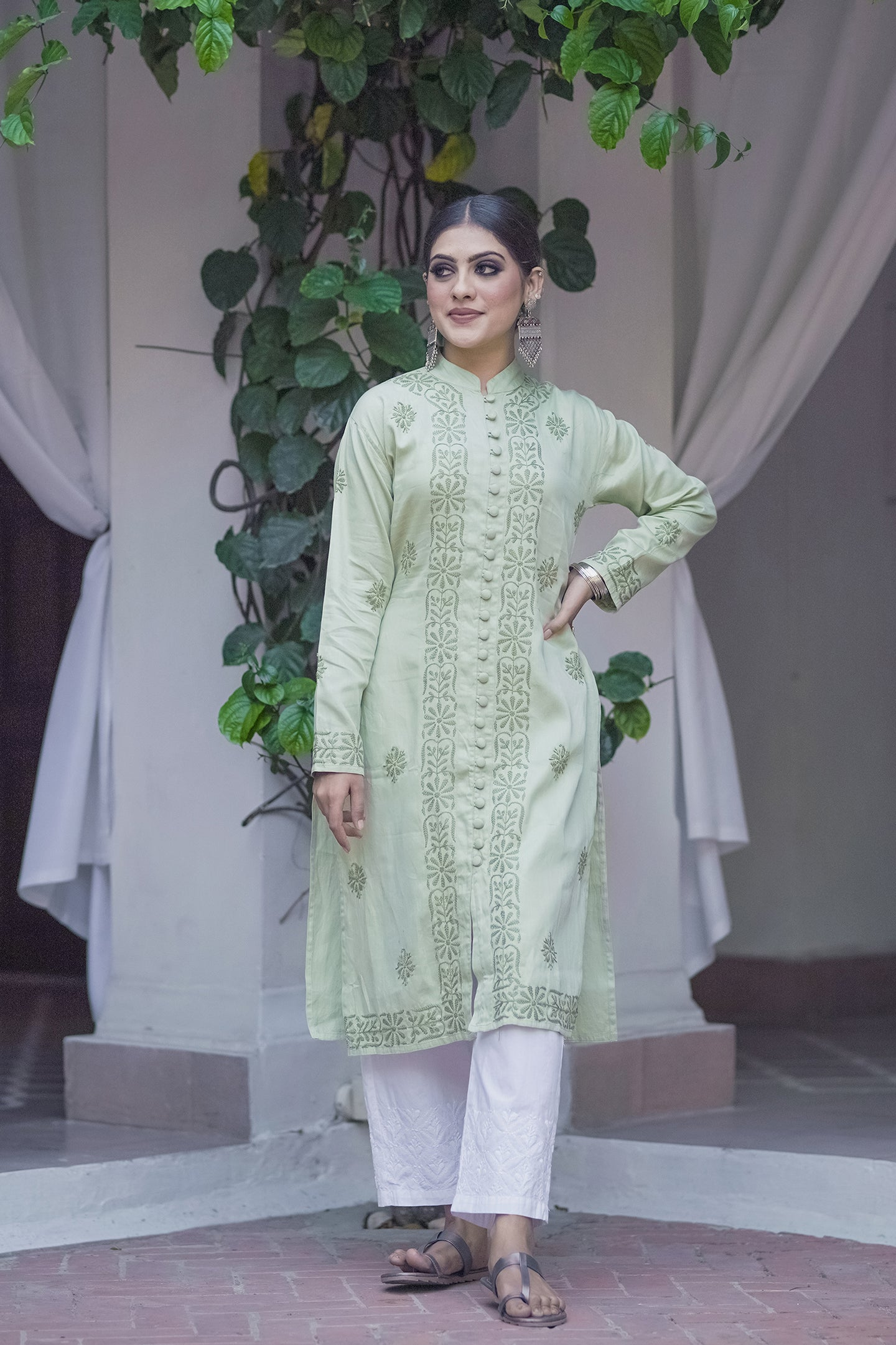 Hazy Dawn Kurta - Pista Green