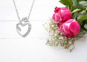 Journey Diamond Mother and Child Heart Pendant Necklace in Sterling Silver $ 39.99