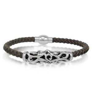 Braided Brown Leather Mens Bracelet 5 mm 8 1/2 inches with Magnetic Stainless Steel Clasp