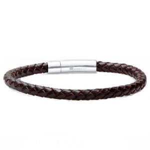 Braided Dark Brown Leather Mens Bracelet 6 mm 8 1/2 inches with Locking Stainless Steel Clasp