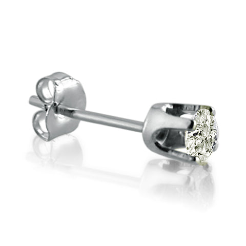 14K White Gold Round SINGLE Diamond Stud Earring .15ct