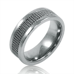 Mens 8mm Titanium Comfort Fit Mesh Inlay Wedding Band (Choose Your Ring Size 8-12 1/2)