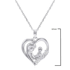 Mother and Child Diamond Heart Pendant in Sterling Silver on an 18 inch Sterling Silver Chain