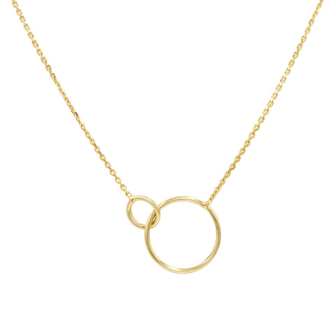 Amanda Rose 14k Yellow Gold Interlocking Circle Necklace on a 16- 18. in Adjustable Chain