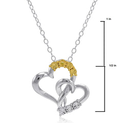 Yellow and White Diamond Heart Pendant Necklace in Sterling Silver , Gifts Under $99 - MLG Jewelry, MLG Jewelry  - 2