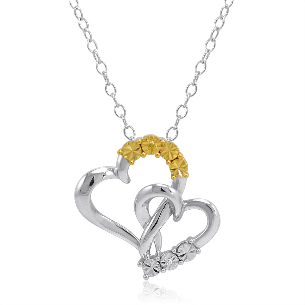 Yellow and White Diamond Heart Pendant Necklace in Sterling Silver , Gifts Under $99 - MLG Jewelry, MLG Jewelry  - 1