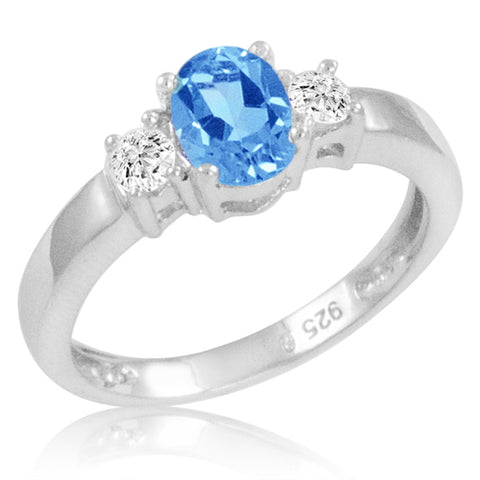Swiss Blue and White Topaz Three Stone Ring in Sterling Silver ( Available Sizes 5-9)