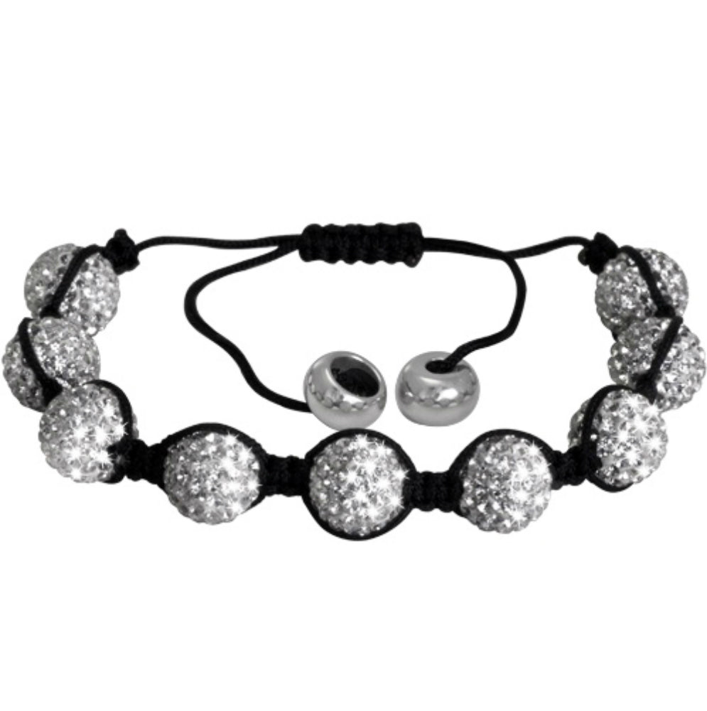 10mm Crystal Disco Ball Shamballa Bracelet Adjustable from 6 to 9 inches , Bracelets - MLG Jewelry, MLG Jewelry  - 1