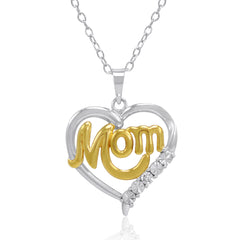 Sterling Silver and Diamond Mom in Heart Pendant-Necklace , Pendants - MLG Jewelry, MLG Jewelry  - 1