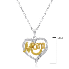 Sterling Silver and Diamond Mom in Heart Pendant-Necklace