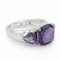 4ct tw Cushion and Trillion Cut Amethyst Ring in Sterling Silver ( Available Sizes 5-8)