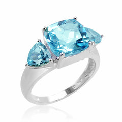 5ct tw Sky Blue Topaz Ring set in Sterling Silver ( Available Sizes 5-8)